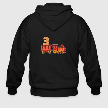 Locomotive 3 birthday locomotive steam locomotive - Men's Zip Hoodie
