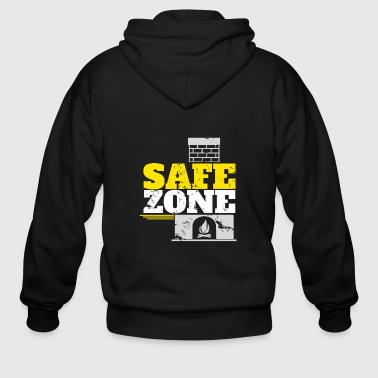 Safe Zone Chimney Santa gift idea christmas - Men's Zip Hoodie