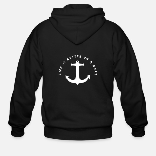 Seaman Hoodies & Sweatshirts - Funny Seaman And Sailor Quotes Anchor Design - Men's Zip Hoodie black
