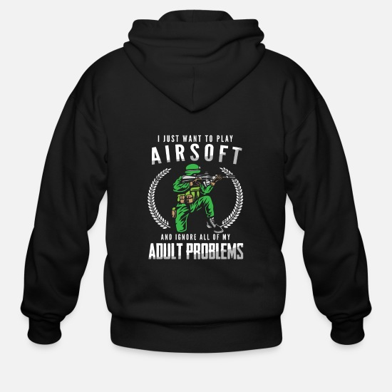 Airsoft Hoodies & Sweatshirts - Airsoft Player Always Gift Idea Gift - Men's Zip Hoodie black