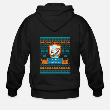 Ornament Jet Ski Like a Bearded Senior Viking Ugly Xmas - Men's Zip Hoodie