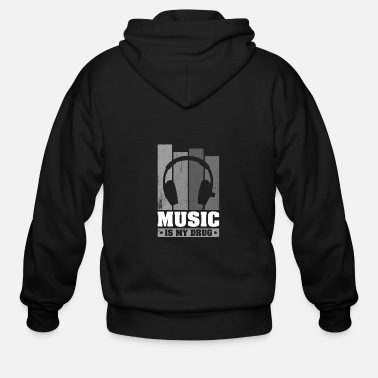 Music Is My Drug DJ Dee Jay Headphone Vintage - Men's Zip Hoodie