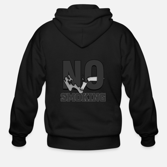 Gift Idea Hoodies & Sweatshirts - No smoking Public Law Symbol Prohibited Sign Anti - Men's Zip Hoodie black