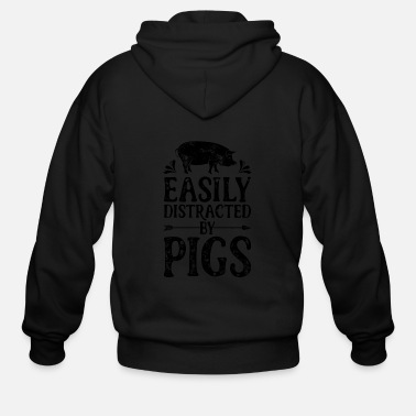 Farming Easily Distracted By Pigs T Shirt Funny Pig - Men's Zip Hoodie