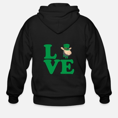 Beer St. Patrick's Day Gift Llama Alpaca Love - Men's Zip Hoodie