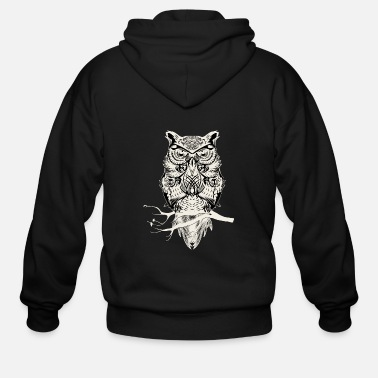 Wisdom Owl on a branch - wisdom, wisdom - Men's Zip Hoodie