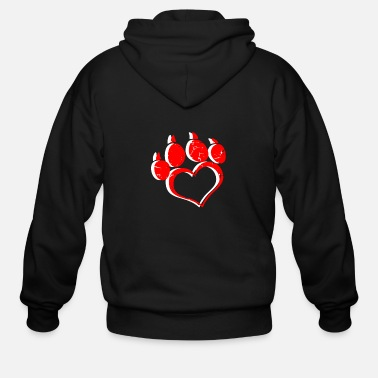 Toddler Paw Print Heart Animal Pet Lover Person Dog - Men's Zip Hoodie