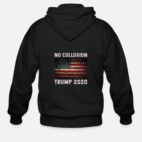 Trump Hoodies & Sweatshirts - No Collusion Trump 2020 - Men's Zip Hoodie black