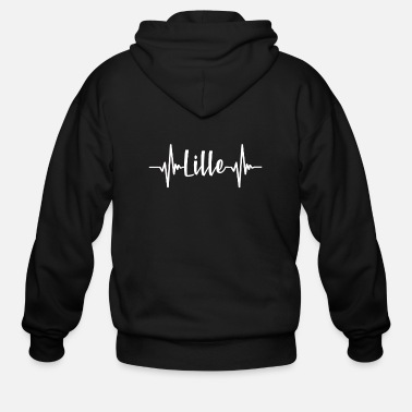Tourist Lille France Heartbeat - Men's Zip Hoodie