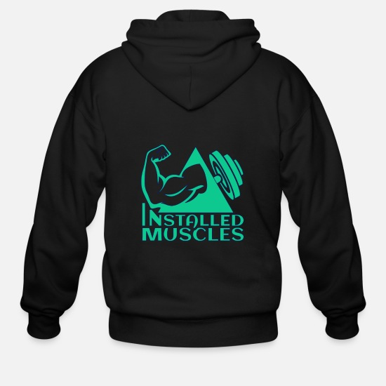 Gift Idea Hoodies & Sweatshirts - INSTALLED MUSCLES - Men's Zip Hoodie black