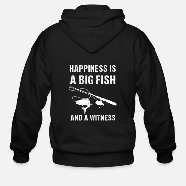 Amusing Happiness is a Big Fish and a Witness Fishing - Men's Zip Hoodie