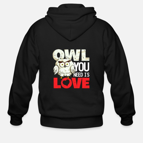 Love Hoodies & Sweatshirts - All you need is love (or owls) - Men's Zip Hoodie black