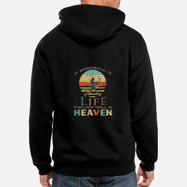 Themed Top Fun Softball is Heaven Sunset Gift Design - Men's Zip Hoodie