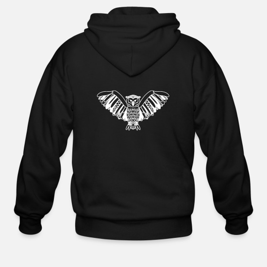 Owl Hoodies & Sweatshirts - Hand Drawn Owl Clip Art Intricate Owl Design - Men's Zip Hoodie black