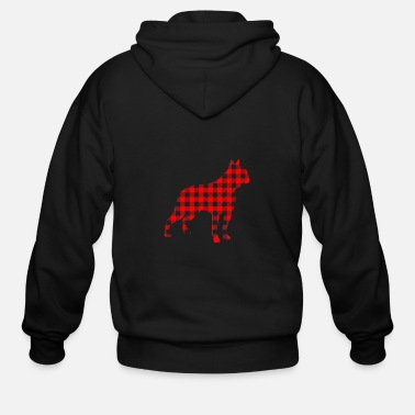 Party Boston Terrier Red Buffalo Plaid - Men's Zip Hoodie