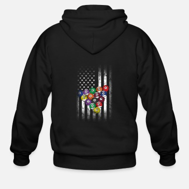 Pool Lover Billiard USA Flag - Men's Zip Hoodie