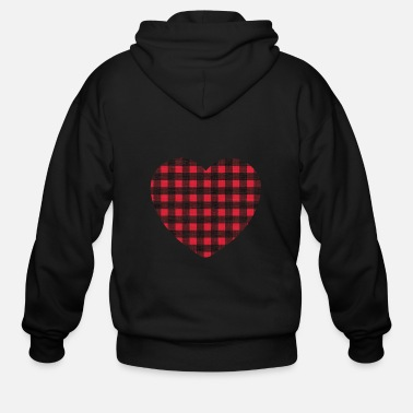 Buffalo Plaid Love Heart Happy Valentines Day Red Gift Men Unisex Hoodie