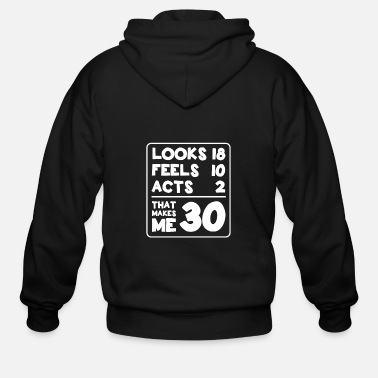 Witty Looks 18, Feels 10, Acts 2, That Makes Me 30, - Men's Zip Hoodie