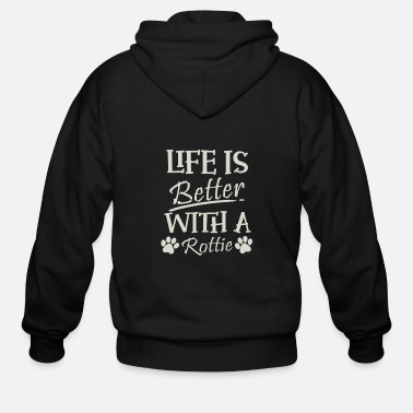 Police Rottweiler Gift Life Is Better With A Rottie Print - Men's Zip Hoodie