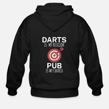 Evening Darts is my religion pub is my church - Men's Zip Hoodie