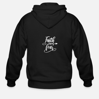 Virus Distance Learning Faith Over Fear Arrow - Men's Zip Hoodie