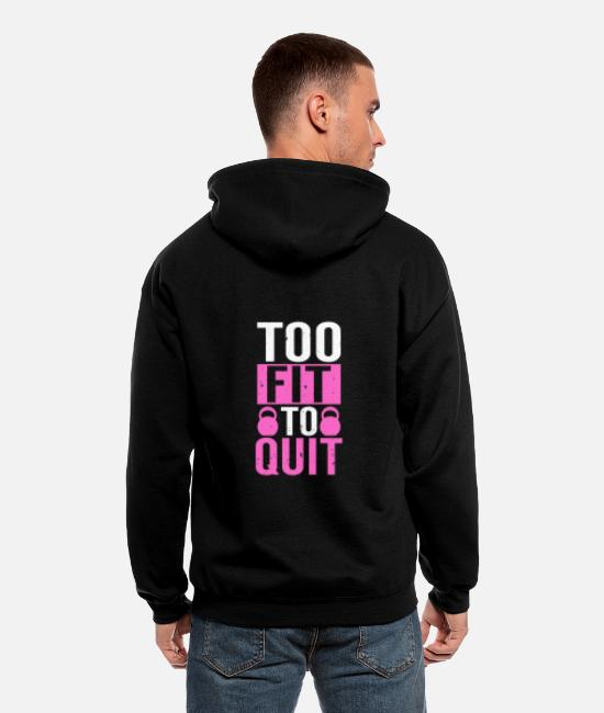 Work Out Hoodies & Sweatshirts - Too Fit To Quit Fitness Workout Gift - Men's Zip Hoodie black