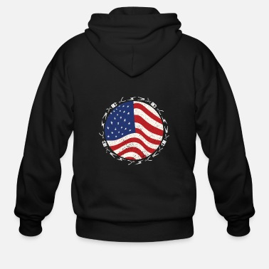 Patriotic Electrician USA Flag Funny Lineman - Men's Zip Hoodie