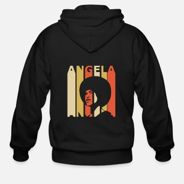 Black Power Retro Angela - Men's Zip Hoodie