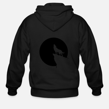Love Wolves Howling wolf full moon space galaxy gift dog trend - Men's Zip Hoodie