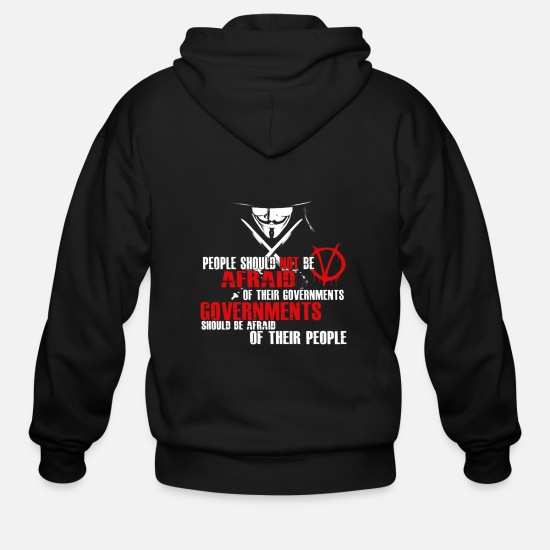 Suck Hoodies & Sweatshirts - Governments should be afraid tee - Men's Zip Hoodie black