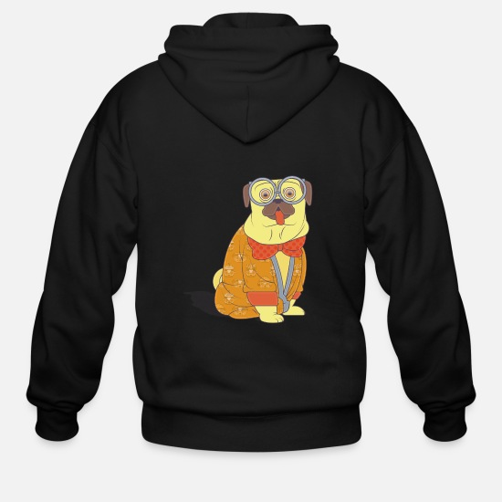 Fundraiser Hoodies & Sweatshirts - Fun pug with glasses and coat - Men's Zip Hoodie black