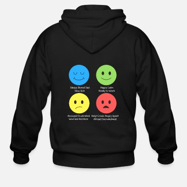 Adhd Funny ADHD - Sleepy Happy Annoyed Help - Condition - Men's Zip Hoodie