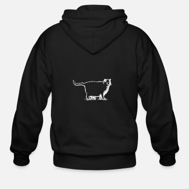 Fat Pussy Fat Cat Sketch (White Line) - Men's Zip Hoodie