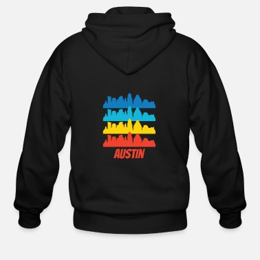 Austin Retro Austin TX Skyline Pop Art - Men's Zip Hoodie