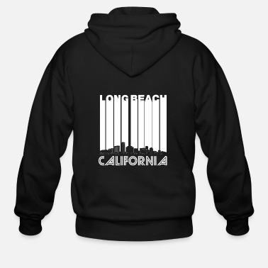 Long Retro Long Beach California Skyline - Men's Zip Hoodie