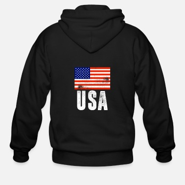 Usa USA FLAG VINTAGE - Men's Zip Hoodie