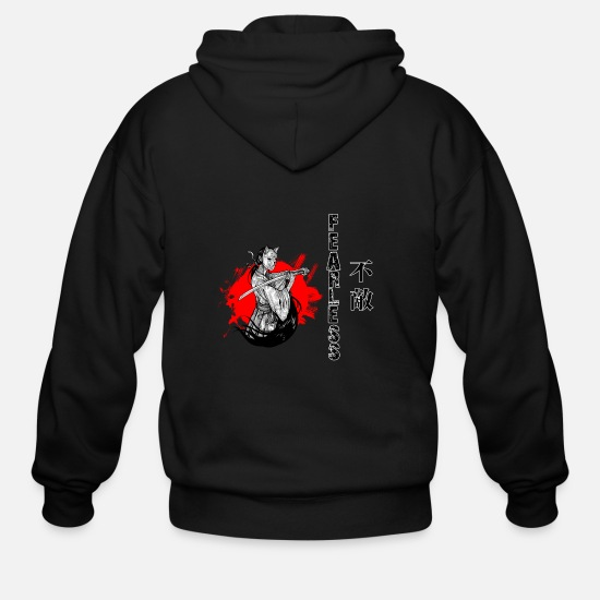 Samurai Hoodies & Sweatshirts - Samurai Fearless T Shirt, Samurai, Samurai Art - Men's Zip Hoodie black
