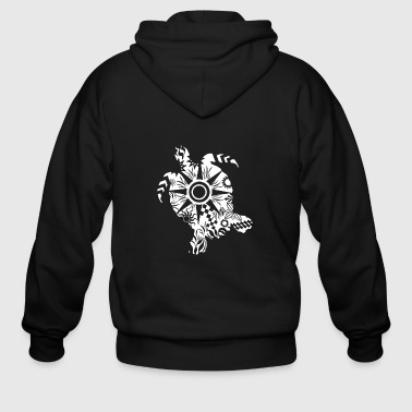 Maori Turtle honu Tattoo Tribal Shapes white Gift - Men's Zip Hoodie