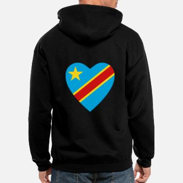 Congolese Girlfriend Congo-Kinshasa Flag Heart - Men's Zip Hoodie