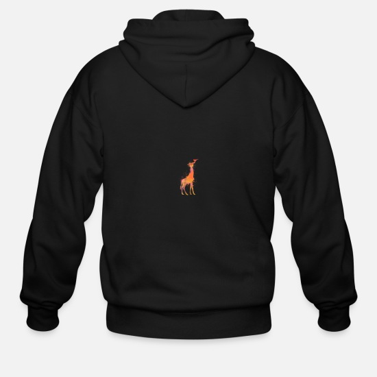 Giraffe Hoodies & Sweatshirts - Giraffe T Shirt Watercolor Giraffe Colorful - Men's Zip Hoodie black