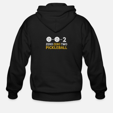 Banjo Funny Pickle Ball Quotes - 0 0 2 Pickleball - Men's Zip Hoodie