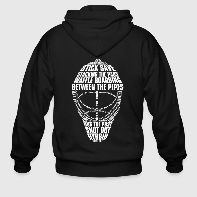 Hockey Goalie Mask (white print) - Men's Zip Hoodie