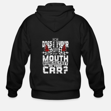 Mouth Mustang Does your mouth run as fast as your car - Men's Zip Hoodie