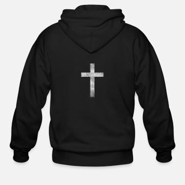 Anything Gray Grunge Cross Black Outline - Men's Zip Hoodie