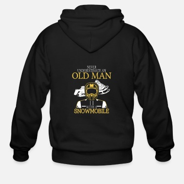 Ostalgie Snowmobile - An old man with a snowmobile t - sh - Men's Zip Hoodie