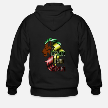 Iron Metal Reggae music, rastafari, Iron, lion, zion metal - Men's Zip Hoodie