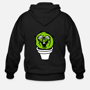 Cactus small round green sweet cute nerd geek cactus flow - Men's Zip Hoodie