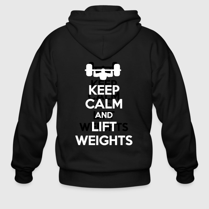 Keep Calm Lift Weights Exercise Work out Apparel - Men's Zip Hoodie