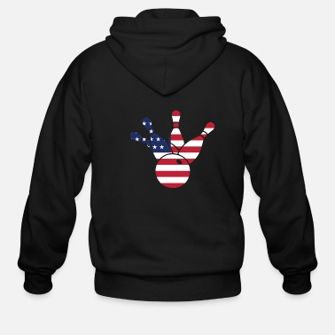 Funny Bowling 4th Of July Bowling American - Men's Zip Hoodie