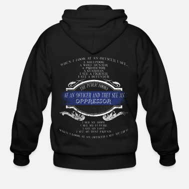 Sheepdog Police Police Sheepdog Police Heroes The Protector Police Wife - Men's Zip Hoodie